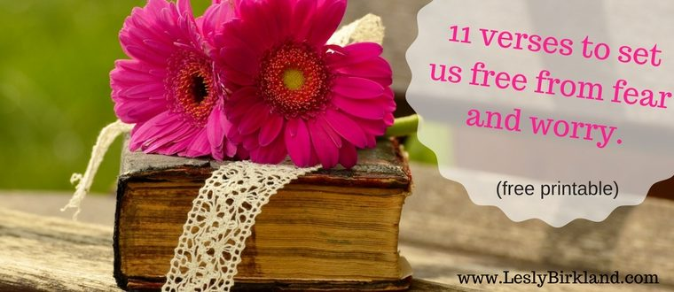 11 verses to set us free from fear and worry. (free printable inside)